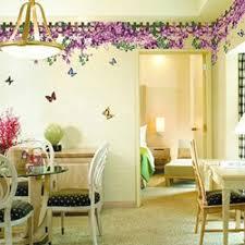 purple wisteria flowers butterfly sticker baseboard and wall