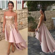light pink high low short cocktail dresses 2017 strapless gold