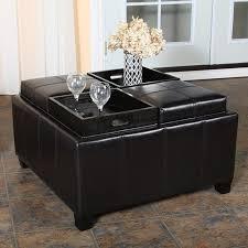 Black Leather Storage Ottoman Tuffed Leather Ottoman Coffee Table U2014 Derektime Design