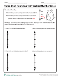 three digit rounding with vertical number lines worksheet