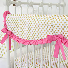 pink u0026 gold dot ruffle baby bedding caden lane