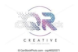 qr q r pink magenta dotted bubble letter logo design vector