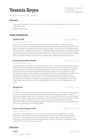 Accounts Receivable Resume Sample by Shipping Clerk Resume Samples Visualcv Resume Samples Database