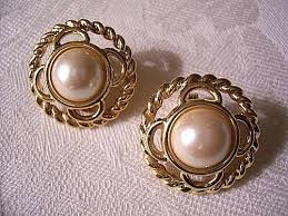 clip on pearl earrings monet pearl clip on earrings gold tone vintage swirl ribbed