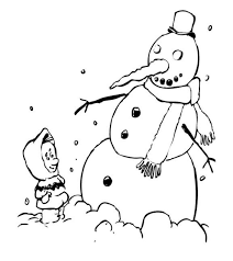 kid and snowman winter coloring pages winter coloring pages of