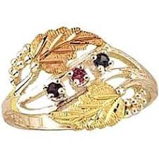 black gold mothers ring 3 diamond fancy band 10k yellow gold 12k green and