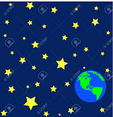 cartoon of earth in outerspace or orbit with stars vector