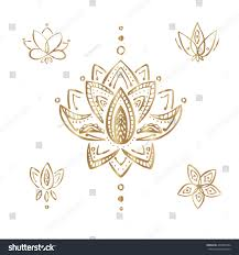 gold lotus indian mendi designs ornament stock vector 402380764