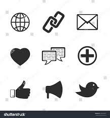facebook icon set vector black white web social stock vector 207247822