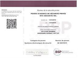 bureau sécurité privée nyx sécurité nos permis