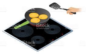 poele electrique cuisine plat isométrique illustration de cuisine électrique cuisinière avec