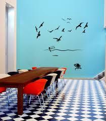 octopus ocean vinyl sticker decal wall art company octopus ocean vinyl wall art sticker with 14 seagulls a boat an octopus