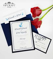 Invitation Card With Rsvp Navy Blue Wedding Invitation Rsvp Cards Set Of 10 Vip Craft