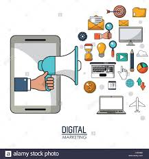 hand holding speaker smartphone digital marketing media strategy