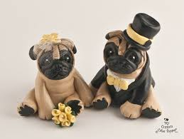 cake topper with dog pug dog wedding cake toppers your colors and accessories