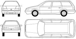 volkswagen drawing car blueprints volkswagen passat b4 variant blueprints vector