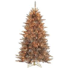 sterling 5 ft pre lit layered copper and silver frasier fir