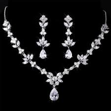 necklace with earrings set images Marquise cz cubic zirconia necklace set jpg