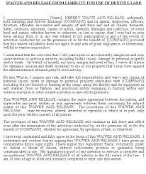 legal liability waiver template release form for hunting land