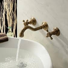 hiendure two handles wall mount solid brass bathroom sink mixer