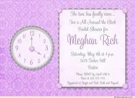 around the clock bridal shower purple around the clock shower invitations silver gray lavender
