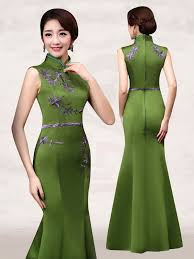 olive green embroidered sleeveless mandarin collar evening dress