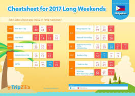 11 weekends in the philippines next year 2017 deped