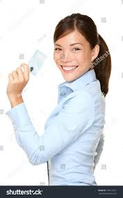 Credit Card Signs For Businesses Casual Business Woman Holding Showing Credit Stock Photo 148713011