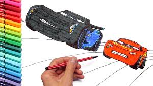 drawing and coloring cars 3 lightning mcqueen speed race color