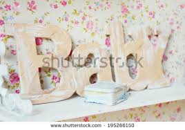 baby on the shelf baby room wallpaper stock images royalty free images vectors