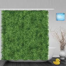 Bright Green Shower Curtain 3d Printing Shower Curtain Bright Green Grass Meadow Decor Bthroom