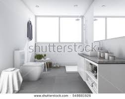 bright bathroom interior with clean 3d rendering bright white clean toilet stock illustration