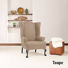 wing chair slipcover amazon com sure fit simple stretch twill wing chair slipcover