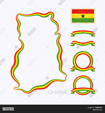 Map Of Ghana Outline Map Of Ghana Border Is Marked With Ribbon In National