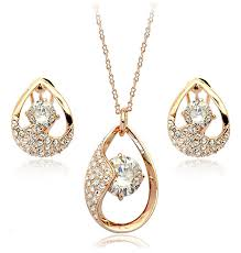 swarovski gold plated necklace images Glow rose gold plated necklace and earrings set with aaa swarovski jpeg