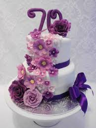 floral cascade in purple pink u0026 mauve 70th birthday cake for a