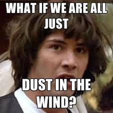 Wind Meme - what if we are all just dust in the wind create meme