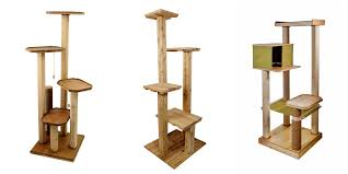 handmade wood cat trees scratching posts and cat shelves