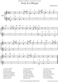 away in a manger easy piano sheet music by christmas piano