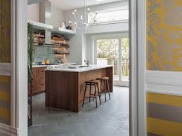 herringbone floor tile kitchen contemporary with floating shelves