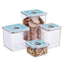 Kitchen Canisters Set Of 4 Set Of Square Perfect Seal Canisters The Container Store