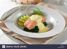 poached salmon hollandaise sauce stock photo royalty free image