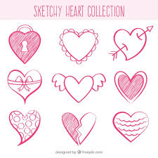 sketches of decorative hearts vector free download