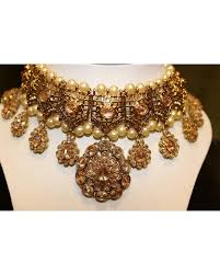 big gold necklace set images Gold necklace set with big drop earrings chandan fashion jpg