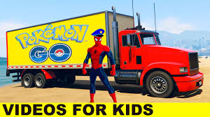 pokemon go truck with spiderman in cartoon for kids and nursery