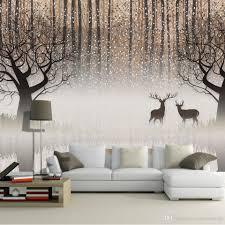 Wall Murals For Living Room Wall Mural Vintage Nostalgic Dark Forest Elk 3d Tv Backdrop