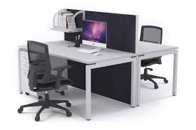 White X Desk by 2 Person Office Workstation Desks Acoustic Screens White Leg