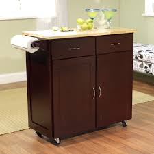 kitchen carts 43 inch w portable kitchen island cart with natural wood top in espresso