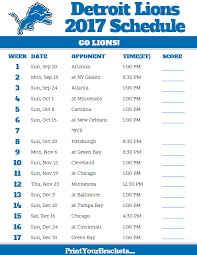 2017 detroit lions football schedule printable nfl schedules