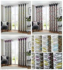 Curtain Pairs Copeland Leaves Designer Eyelet Curtain Pairs Fully Lined Ring